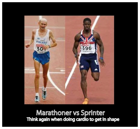 I don't want to look like a marathon runner. I want to look like a sprinter!